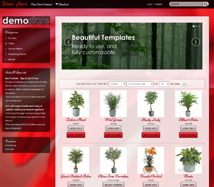 View a demo of the carnation Template Package